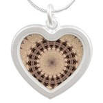 Earth Tone Pattern Silver Heart Necklace