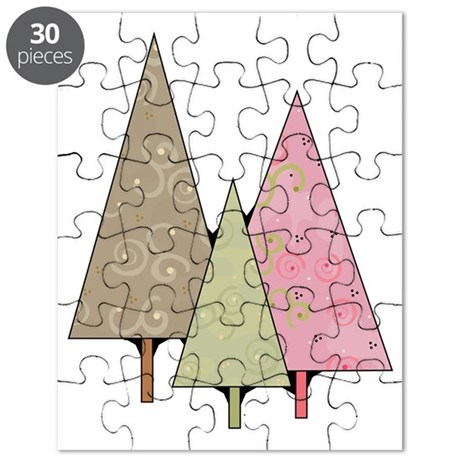 whimsical patterened christmas trees Puzzle