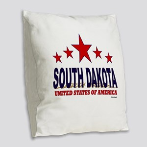 South Dakota U.S.A. Burlap Throw Pillow