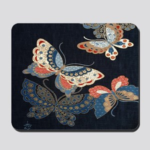 butterfly japanese textile Mousepad