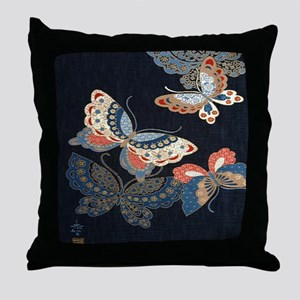 butterfly japanese textile Throw Pillow