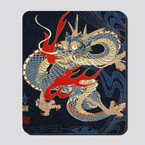 dragon japanese textile Mousepad