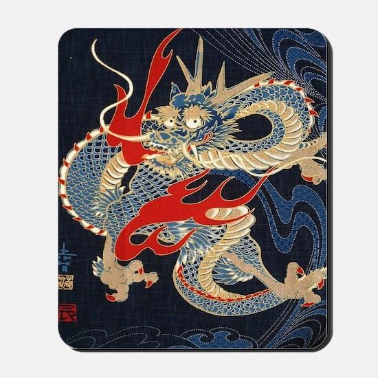 dragon japanese textile Mousepad
