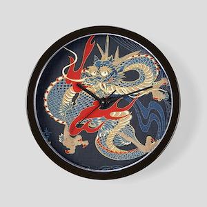 dragon japanese textile Wall Clock