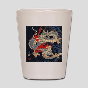 dragon japanese textile Shot Glass