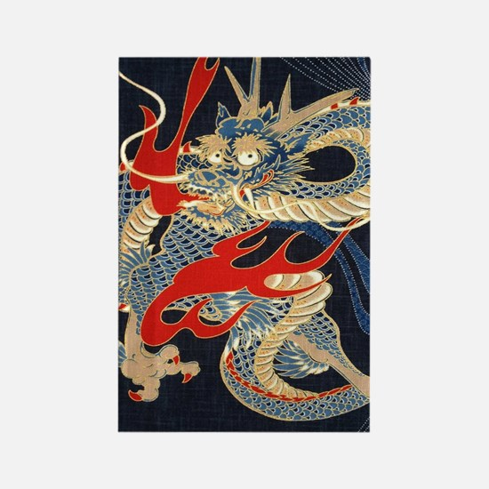 dragon japanese textile Rectangle Magnet