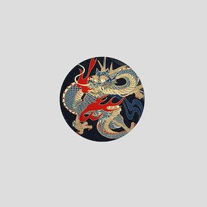 dragon japanese textile Mini Button