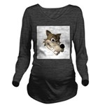 wolf smiling copy Long Sleeve Maternity T-Shir