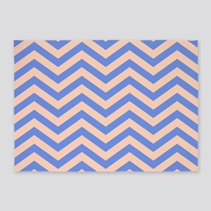 Blue and orange Chevrons 5'x7'Area Rug