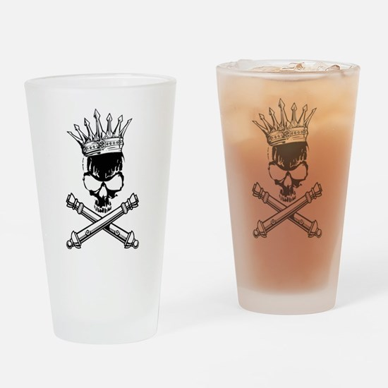 Artillery Skull Cross Cannons Drinking Glass