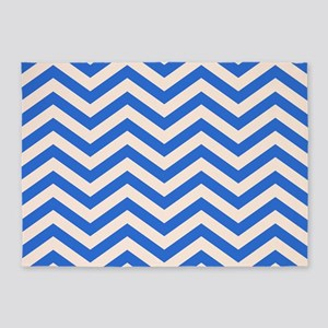 Blue and light orange Chevrons 5'x7'Area Rug