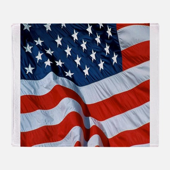 American Flag square Throw Blanket