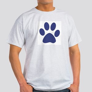 Blue Paw Print Ash Grey T-Shirt
