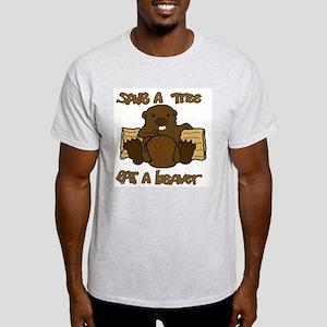 Save  A Tree - Eat A Beaver Light T-Shirt