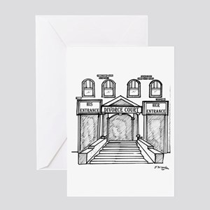 His & Hers Entrances @ Divorce Court Greeting Card