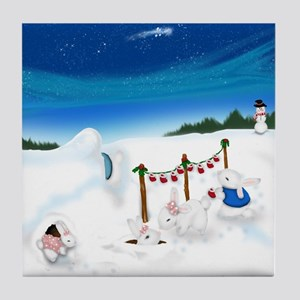 Christmas Bunny Stockings (twxtw) Tile Coaster
