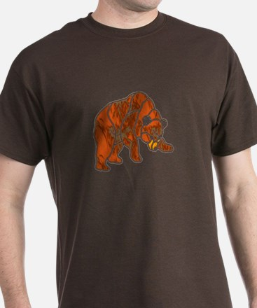 STAINED GLASS SHADOWED BEAR Black OR BROWN T-Shirt