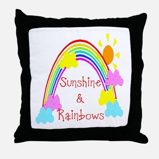 Sunshine Rainbows Throw Pillow