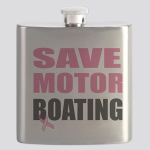 Save Motor Boating Funny Breast Cancer Aware Flask