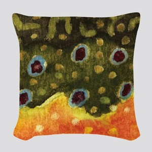 Trout Fly Fishing Woven Throw Pillow
