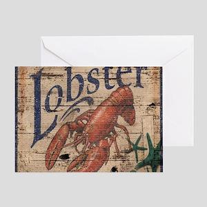 beach lobster woodgrain sign Greeting Card