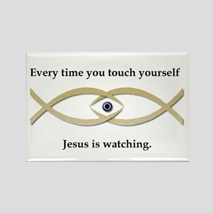 Funny Jesus Fish Rectangle Magnet