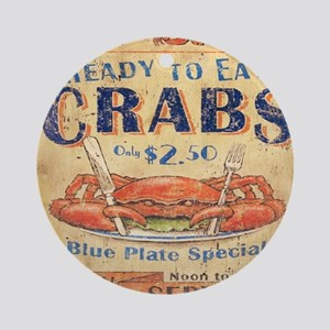 crab seafood woodgrain sign Round Ornament