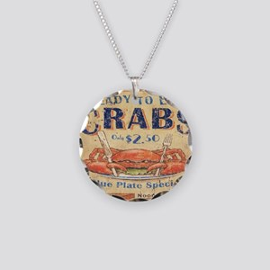 crab seafood woodgrain sign Necklace Circle Charm