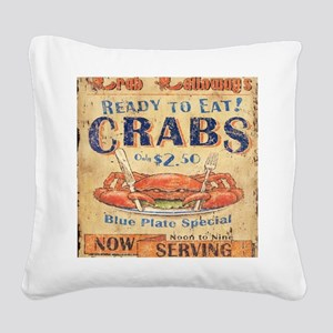 crab seafood woodgrain sign Square Canvas Pillow