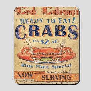 crab seafood woodgrain sign Mousepad