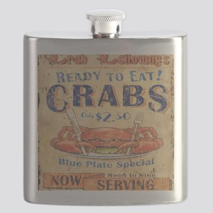 crab seafood woodgrain sign Flask