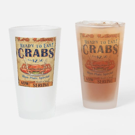 crab seafood woodgrain sign Drinking Glass