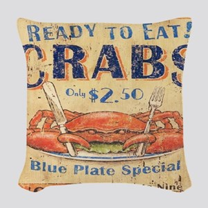 crab seafood woodgrain sign Woven Throw Pillow