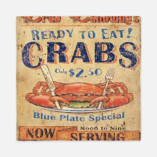 crab seafood woodgrain sign Queen Duvet
