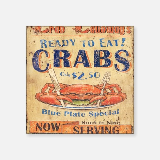 "crab seafood woodgrain sign Square Sticker 3"" x 3"""