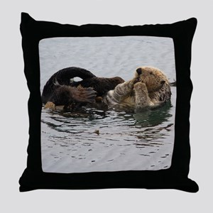 California Sea Otter Throw Pillow
