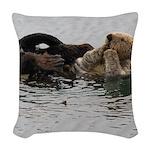 California Sea Otter Woven Throw Pillow