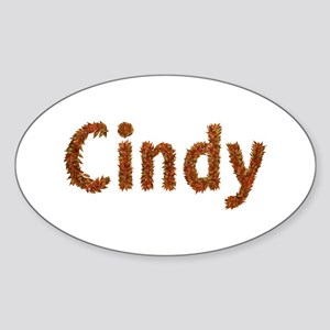 Cindy Fall Leaves Oval Sticker