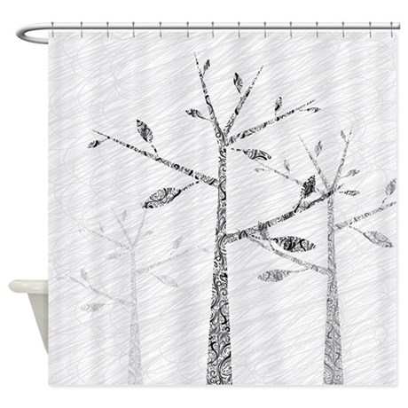 Modern Black White Tree Shower Curtain By Yourperfecthome