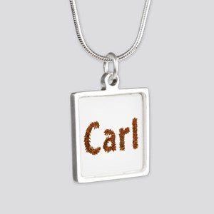 Carl Fall Leaves Silver Square Necklace