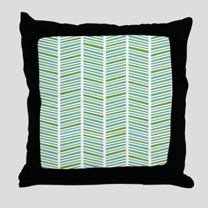 Green and Blue Herringbone Pattern Throw Pillow