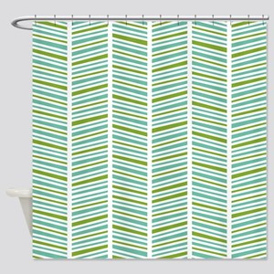 Green And Blue Herringbone Pattern Shower Curtain