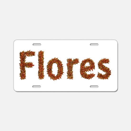 Flores Fall Leaves Aluminum License Plate