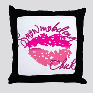 Snowmobiling Chick Throw Pillow