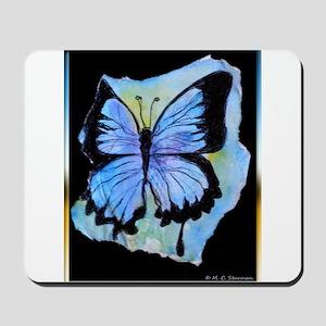 Blue butterfly! Nature art! Mousepad