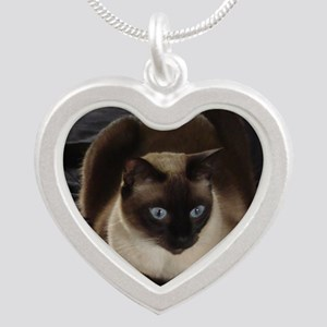 Lulú, the Siamese Cat Silver Heart Necklace