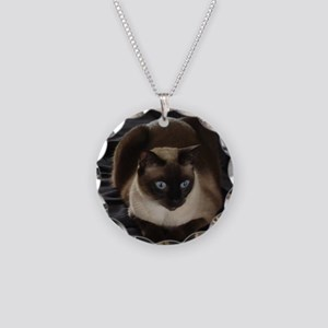 Lulú, the Siamese Cat Necklace Circle Charm