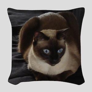 Lulú, the Siamese Cat Woven Throw Pillow