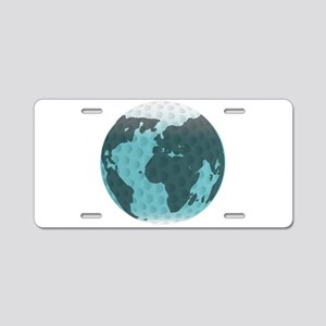 Isolated Golf Ball And Glob Aluminum License Plate