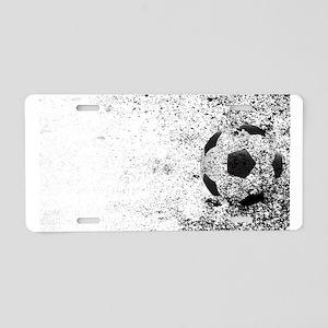 Soccer Ball Grunge Aluminum License Plate